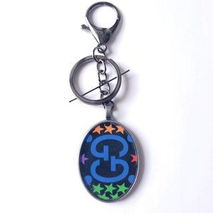 Upcycled Gucci Oval Resin Pewter Black Keychain